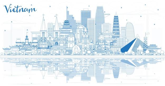 파란색 건물과 반사가 있는 베트남 도시 스카이라인 개요