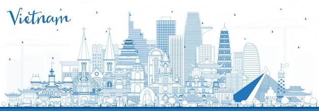 파란색 건물이 있는 베트남 도시 스카이라인 개요. 벡터 일러스트 레이 션. 역사적인 건축과 관광 개념입니다. 랜드마크가 있는 베트남 풍경. 하노이. 호치민. 하이퐁. 다낭.