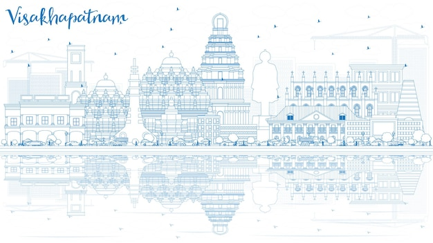 Outline visakhapatnam skyline with blue buildings and reflections vector illustration