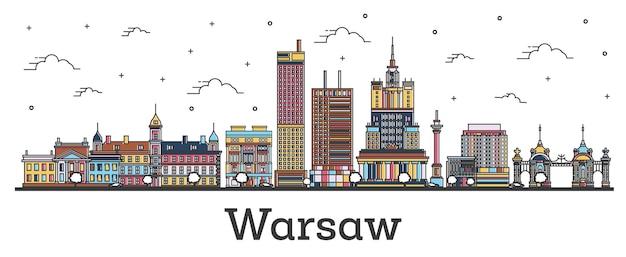 Наброски горизонта города варшава польша с цвета зданий, изолированные на белом. векторные иллюстрации. городской пейзаж варшавы с достопримечательностями.