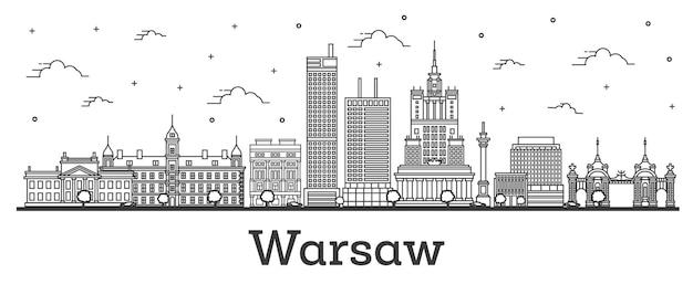 Наброски горизонта города варшава польша с современными зданиями, изолированные на белом. векторные иллюстрации. городской пейзаж варшавы с достопримечательностями.