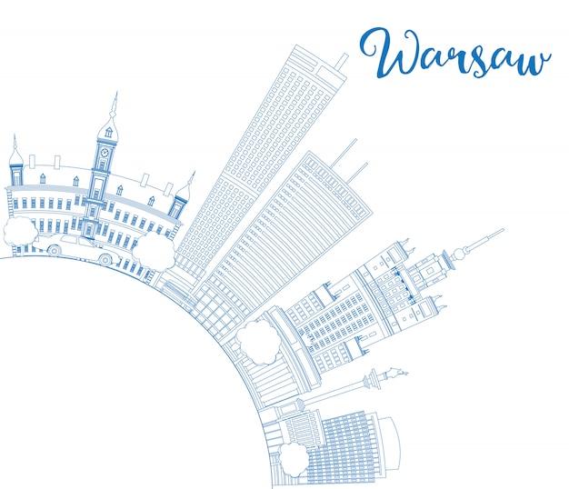 Контур горизонта варшавы с голубыми зданиями и копией пространства.