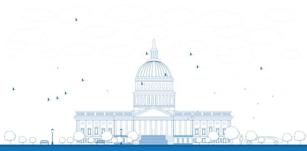 Outline washington dc capitol landscape, usa