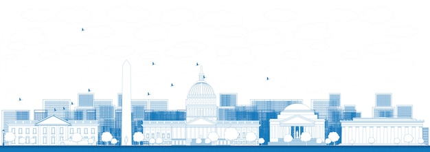 Outline washington dc city skyline banner background