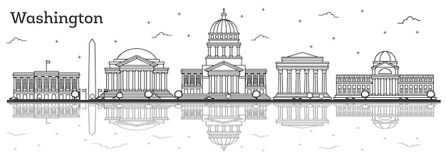 Outline washington dc usa city skyline with modern buildings and reflections isolated on white. vector illustration. washington dc cityscape with landmarks.