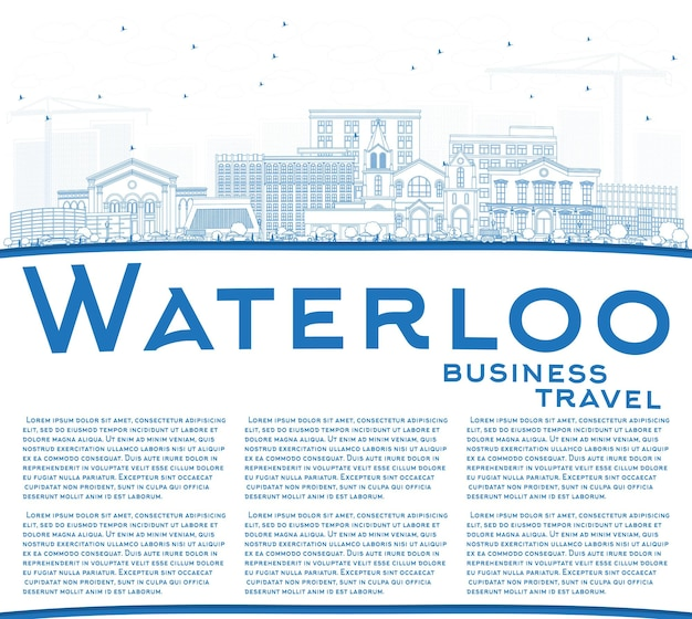 Outline waterloo iowa skyline with blue buildings and copy space. vector illustration. business travel and tourism illustration with historic architecture.