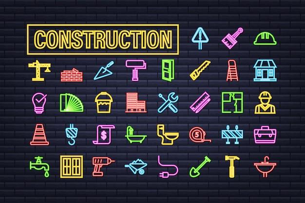 개요 웹 네온 아이콘을 설정합니다. 건설 및 주택 수리 도구, 건물. 작업 안전. 벡터 재고 일러스트 레이 션.