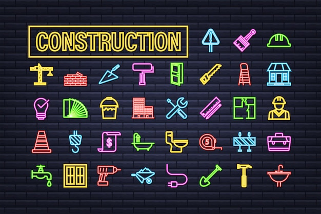 Outline web neon icons set. construction and home repair tools, building. work safety. vector stock illustration.