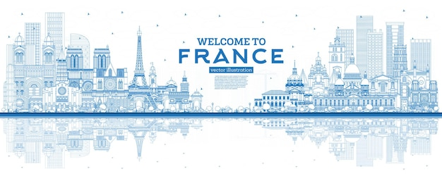 Outline welcome to france skyline with blue buildings and reflections vector illustration