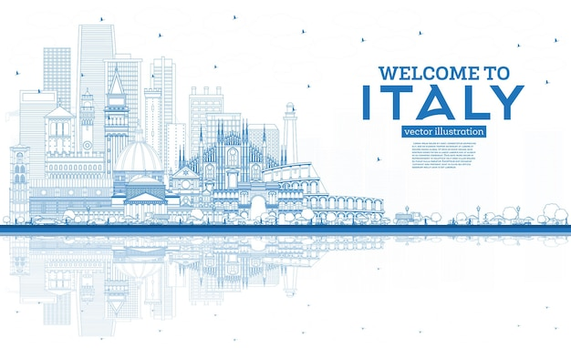 Outline welcome to italy city skyline with blue buildings and reflections famous landmarks