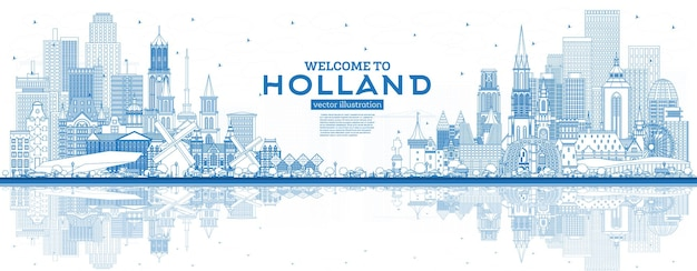 Outline welcome to netherlands skyline with blue buildings. vector illustration. tourism concept with historic architecture. cityscape with landmarks. amsterdam. rotterdam. the hague. utrecht.