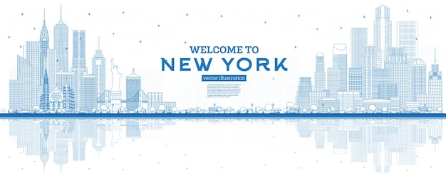 Outline welcome to new york usa skyline with blue buildings and reflections Premium Vector