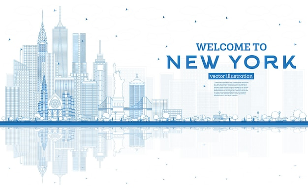 Outline welcome to new york usa skyline with blue buildings and reflections