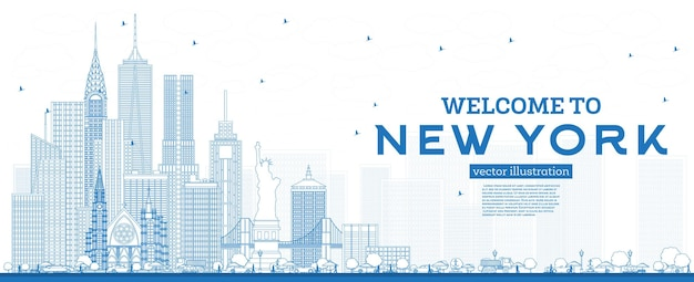 Outline welcome to new york usa skyline with blue buildings vector illustration