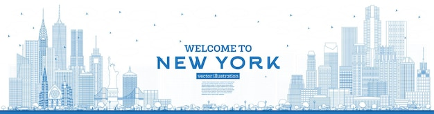 Outline welcome to new york usa skyline with blue buildings