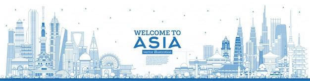 Наброски добро пожаловать в азию skyline с синими зданиями. городской пейзаж азии с достопримечательностями. токио. шанхай. сингапур. дели. эр-рияд.