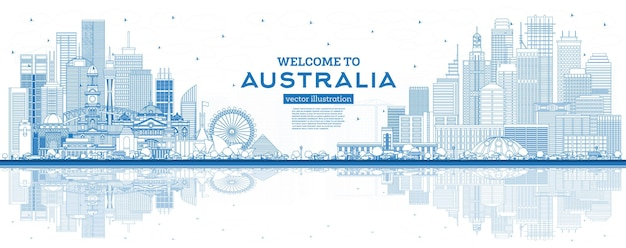 Наброски добро пожаловать в австралию на фоне линии горизонта с голубыми зданиями и отражениями. векторные иллюстрации. концепция туризма с архитектурой. городской пейзаж австралии с достопримечательностями. сидней. мельбурн. канберра.