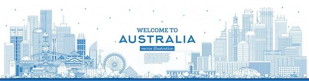 Наброски добро пожаловать в горизонт австралии с синими зданиями. векторные иллюстрации. концепция туризма с исторической архитектурой. городской пейзаж австралии с достопримечательностями. сидней. мельбурн. канберра. брисбен.