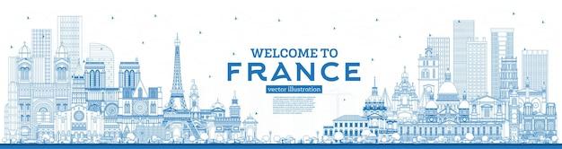 개요 파란색 건물이 있는 프랑스 스카이라인에 오신 것을 환영합니다. 벡터 일러스트 레이 션. 역사적인 건축과 관광 개념입니다. 랜드마크가 있는 프랑스 풍경. 툴루즈. 파리. 리옹. 마르세유. 멋진.