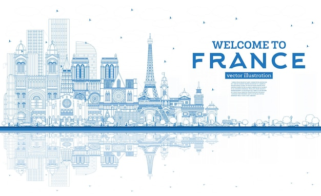개요 파란색 건물이 있는 프랑스 스카이라인에 오신 것을 환영합니다. 벡터 일러스트 레이 션. 역사적인 건축과 관광 개념입니다. 랜드마크가 있는 프랑스 풍경. 툴루즈. 파리. 리옹. 마르세유.