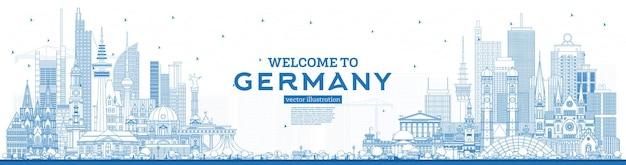개요 파란색 건물이있는 독일 스카이 라인에 오신 것을 환영합니다.