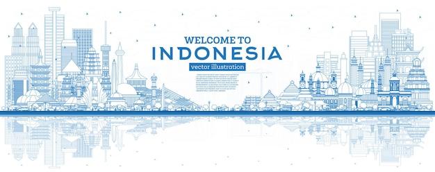 Наброски добро пожаловать на линию горизонта индонезии с синими зданиями и отражениями