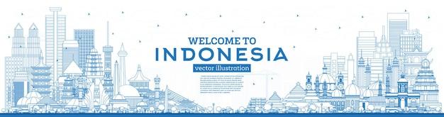 Наброски добро пожаловать на линию горизонта индонезии с синими зданиями