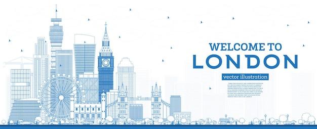 개요 파란색 건물이있는 런던 영국 스카이 라인에 오신 것을 환영합니다. 랜드 마크와 런던 풍경입니다.