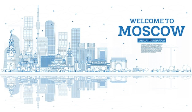 개요 파란색 건물과 반사가 있는 모스크바 러시아 스카이라인에 오신 것을 환영합니다. 벡터 일러스트 레이 션. 현대 건축과 비즈니스 여행 및 관광 개념입니다. 랜드마크가 있는 모스크바 풍경.