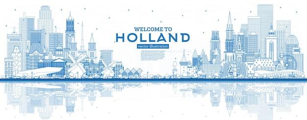 Наброски добро пожаловать в нидерланды skyline с синими зданиями. векторные иллюстрации. концепция туризма с исторической архитектурой. городской пейзаж с достопримечательностями. амстердам. роттердам. гаага. утрехт.