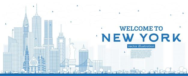 개요 파란색 건물 벡터 일러스트와 함께 뉴욕 미국 스카이 라인에 오신 것을 환영합니다