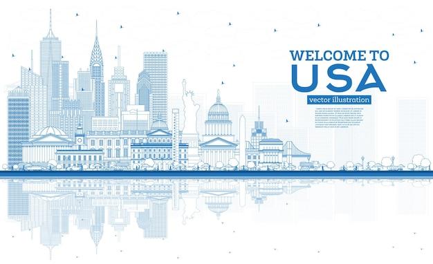 개요 파란색 건물과 반사가 있는 usa 스카이라인에 오신 것을 환영합니다. 미국의 유명한 랜드마크. 벡터 일러스트 레이 션. 역사적인 건축과 관광 개념입니다. 랜드마크가 있는 미국 풍경입니다.