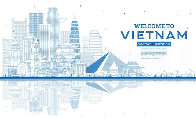 개요 파란색 건물 및 반사 벡터 일러스트와 함께 베트남 스카이 라인에 오신 것을 환영합니다