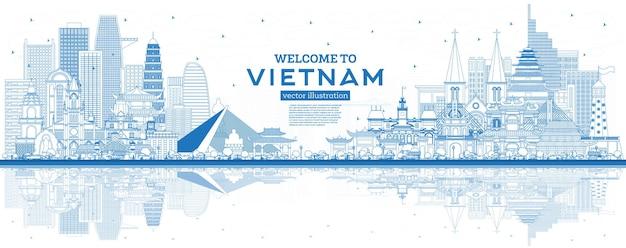 개요 파란색 건물과 반사가 있는 베트남 스카이라인에 오신 것을 환영합니다.