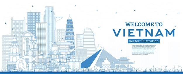 개요 파란색 건물이 있는 베트남 스카이라인에 오신 것을 환영합니다. 삽화. 역사적인 건축과 관광 개념입니다. 랜드마크가 있는 베트남 풍경. 하노이. 호치민