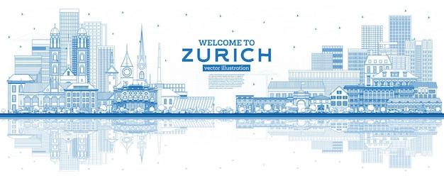 개요 파란색 건물과 반사가 있는 취리히 스위스 스카이라인에 오신 것을 환영합니다. 벡터 일러스트 레이 션. 역사적인 건축과 관광 개념입니다. 랜드마크가 있는 취리히 도시 풍경.