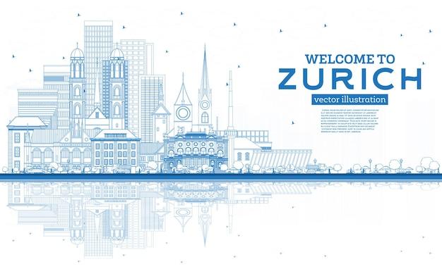 개요 파란색 건물과 반사가 있는 취리히 스위스 스카이라인에 오신 것을 환영합니다.