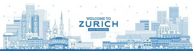개요 파란색 건물이 있는 취리히 스위스 스카이라인에 오신 것을 환영합니다. 벡터 일러스트 레이 션. 역사적인 건축과 관광 개념입니다. 랜드마크가 있는 취리히 도시 풍경.