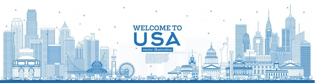 Outline welcome to usa skyline with blue buildings. famous landmarks in usa. illustration