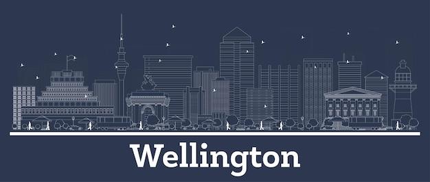 Outline wellington new zealand city skyline with white buildings. illustration