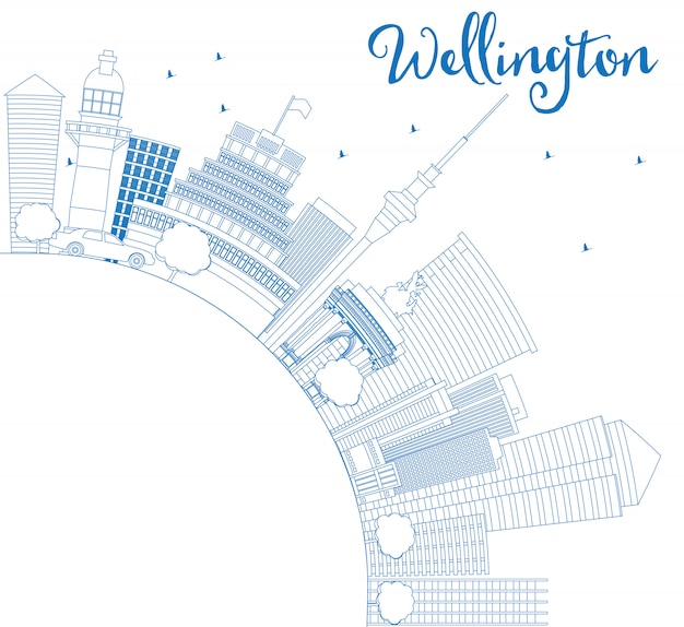 Outline wellington skyline with blue buildings and copy space.