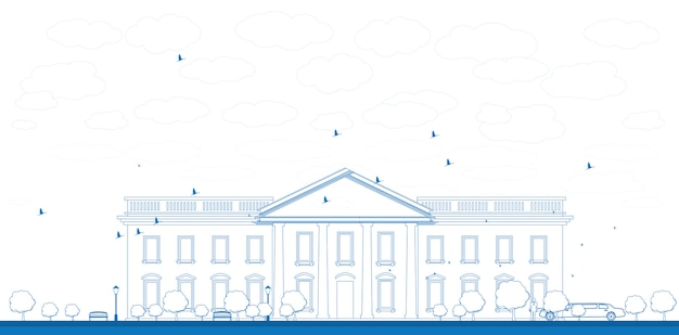 Outline white house washington dc illustration