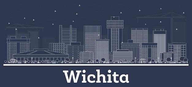 Очертите горизонт уичито канзас-сити с белыми зданиями. векторные иллюстрации. деловые поездки и концепция с исторической архитектурой. городской пейзаж уичито сша с достопримечательностями.