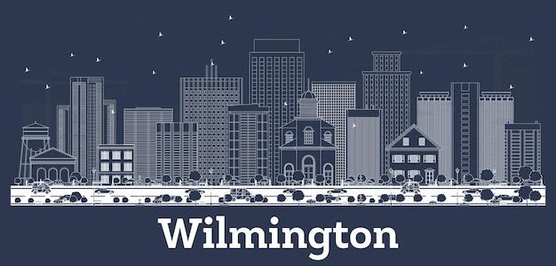 Очертите горизонт города уилмингтон делавэр с белыми зданиями. векторные иллюстрации. деловые поездки и концепция туризма с исторической архитектурой. городской пейзаж уилмингтона с достопримечательностями.
