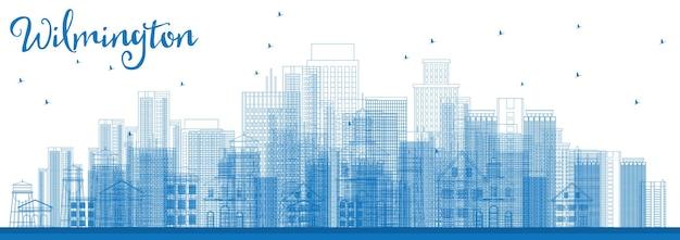 Очертите горизонт уилмингтона с синими зданиями. векторные иллюстрации. деловые поездки и концепция туризма с современными зданиями. изображение для презентационного баннера и веб-сайта.