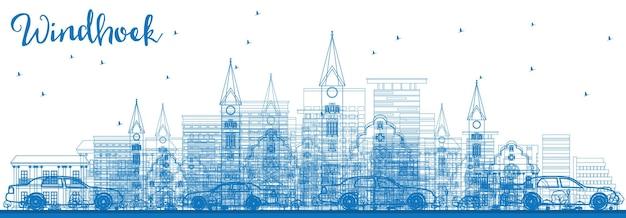 Очертите горизонт виндхука с синими зданиями. векторные иллюстрации. деловые поездки и концепция туризма с современными зданиями. изображение для презентационного баннера и веб-сайта.