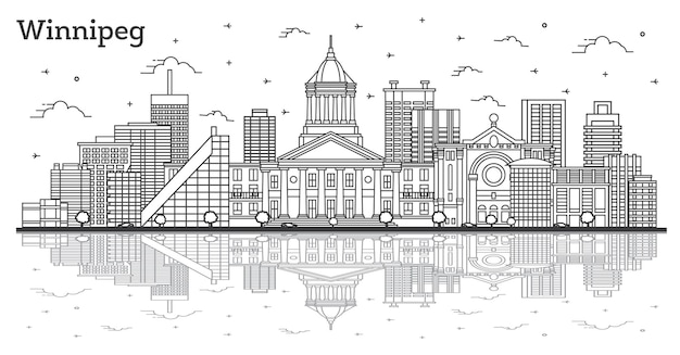 Outline winnipeg canada city skyline with modern buildings and reflections isolated on white. vector illustration. winnipeg cityscape with landmarks.