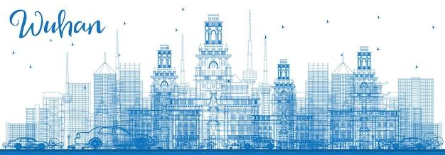 Очертите горизонт уханя с синими зданиями. векторные иллюстрации. деловые поездки и концепция туризма с современной архитектурой. изображение для презентационного баннера и веб-сайта.