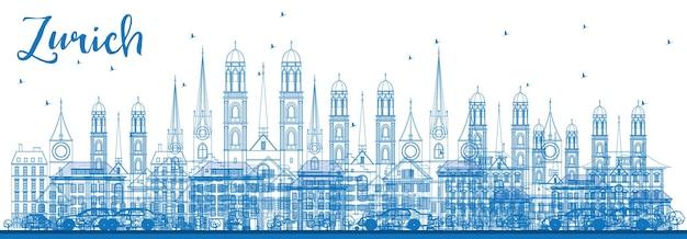 파란색 건물이 있는 취리히 스카이라인 개요. 벡터 일러스트 레이 션. 취리히 역사적인 건물과 비즈니스 여행 및 관광 개념. 프레젠테이션 배너 현수막 및 웹용 이미지입니다.
