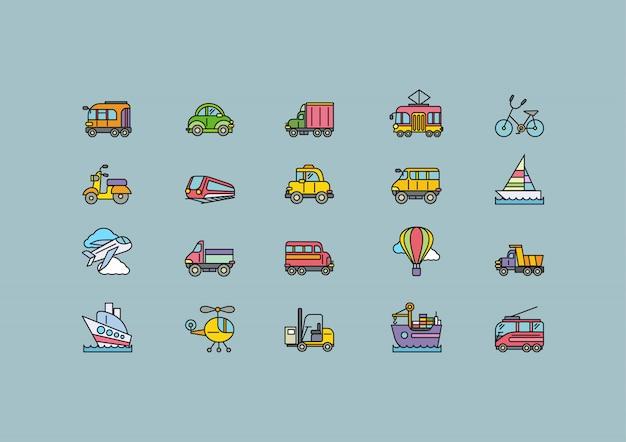 Виды транспорта набор красочных иконок outline